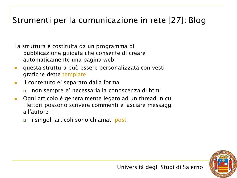 Strumenti per la comunicazione in rete [27]: Blog